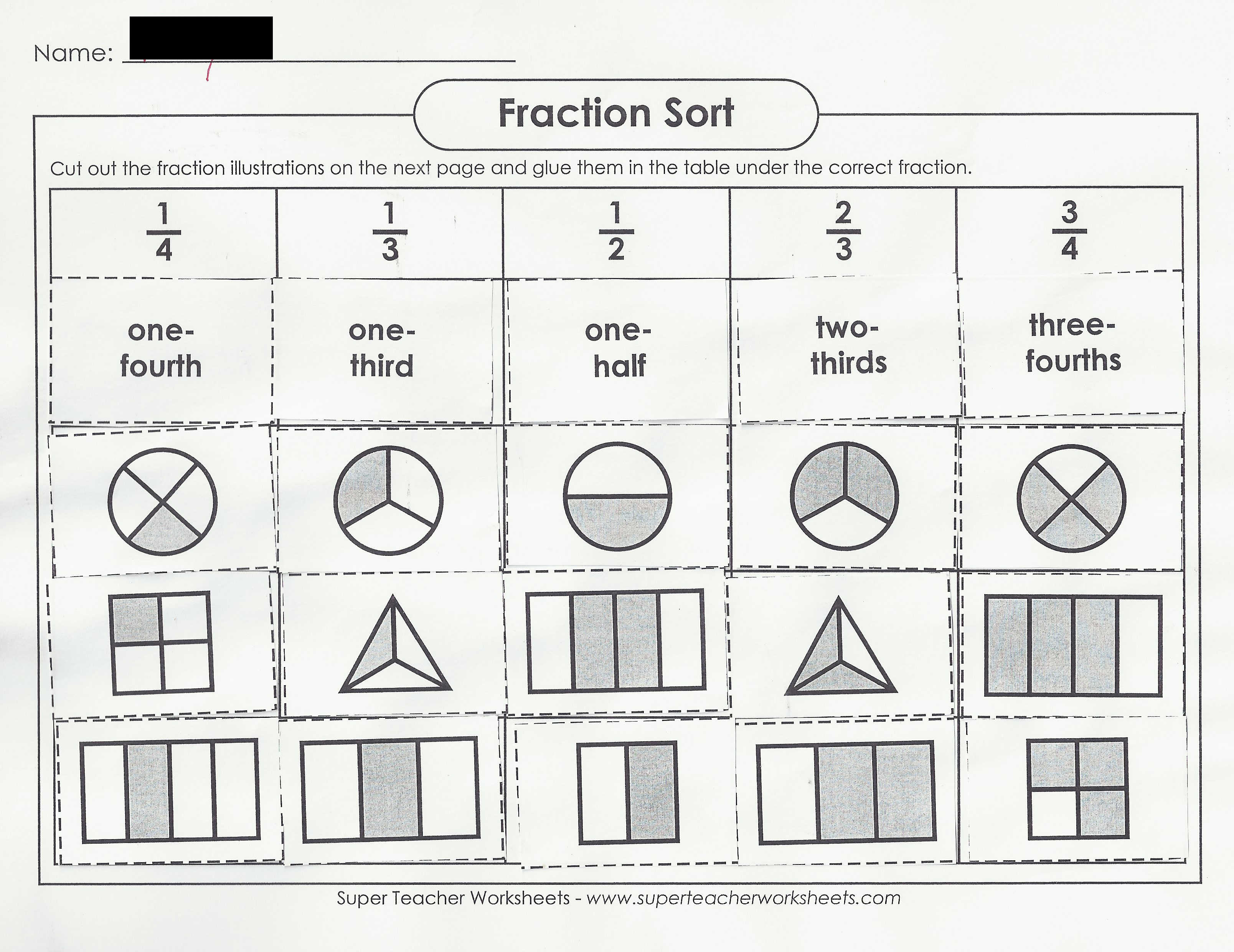 worksheet Identify Fractions Worksheet fraction action teresa manfredo dsil here is an example of a worksheet they completed to show their mastery identifying fractions
